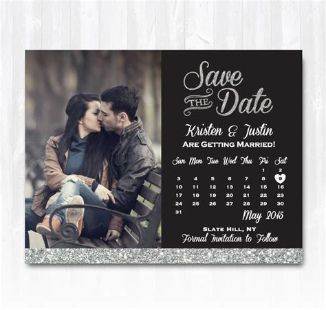 the date calendar card free template silver glitter save the date magnet or card diy printable