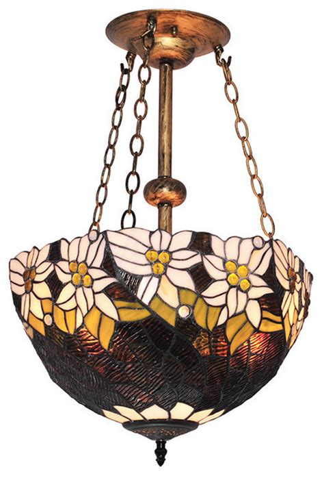 Stained Glass Chandelier Style White Flowers Pattern Stained Glass Chandelier Traditional Chandeliers By
