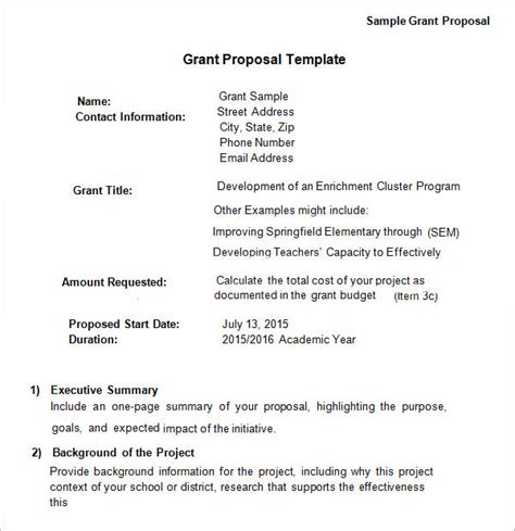 13 Sle Grant Proposal Templates To Download For Free Sle Templates Grant Application Template