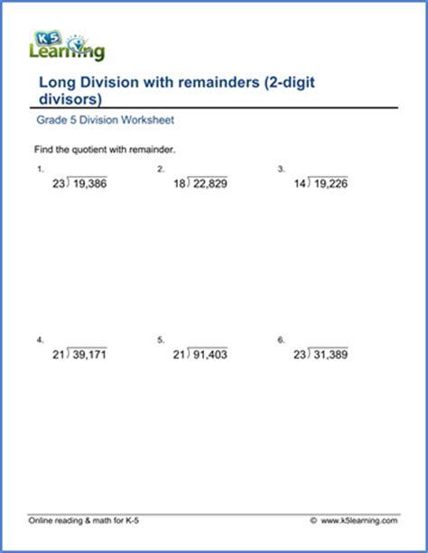 Division Worksheets 5th Grade