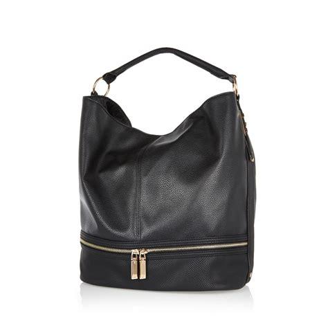 Slouch Bag Hat river island zip detail hobo in black lyst