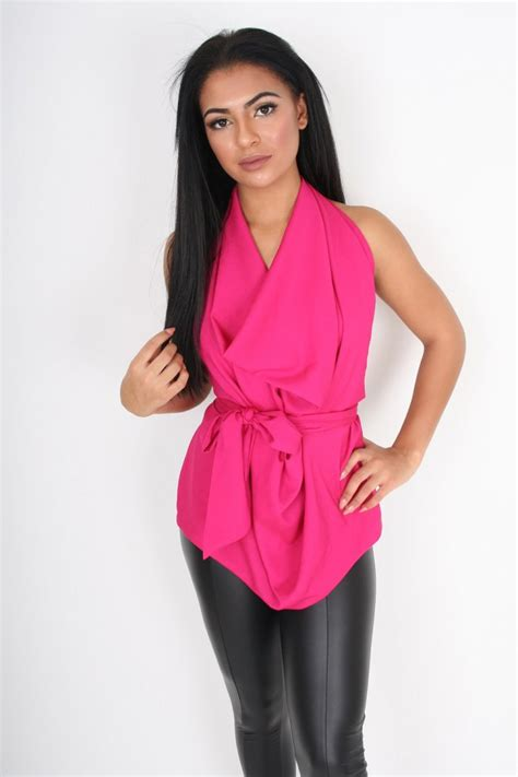 backless drape top lisa jayne dann cerise pink drape backless tie top