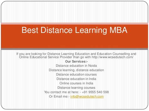 Best Distance Learning Mba Programs by Best Distance Mba In India