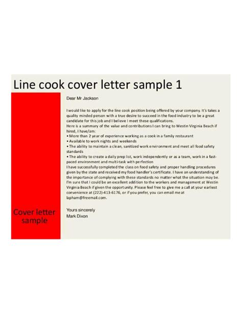 Cook Cover Letters by Basic Line Cook Cover Letter Sles And Templates