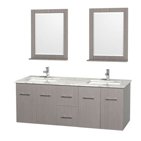 60 Inch White Bathroom Vanity Wyndham Collection Wcvw00960dgocmunsm24 Centra 60 Inch Bathroom Vanity In Gray Oak White