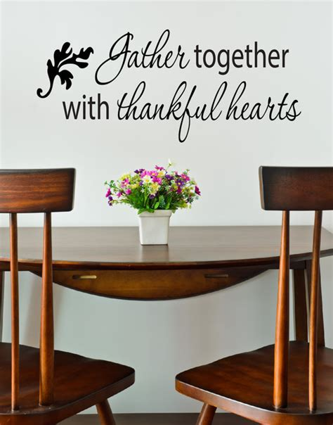 dining room wall decals sayings items similar to thanksgiving decals gather together