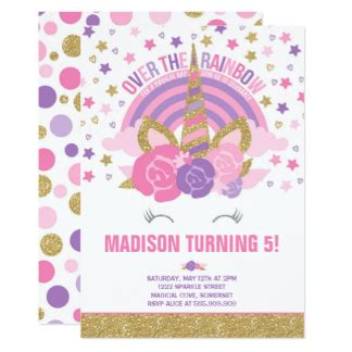 unicorn birthday invitation templates unicorn invitations zazzle