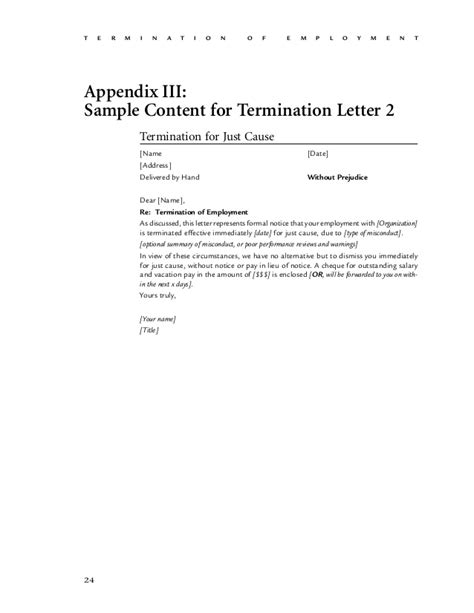 termination letter template ontario employment termination a guide for hr by the cultural