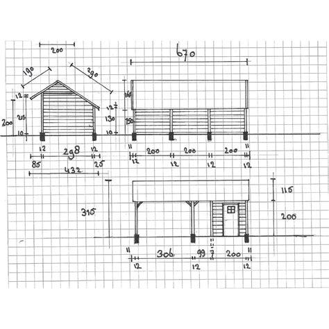 schuur bouwen tekening kapschuur met inpandige schuur 670x430cm stange houthandel