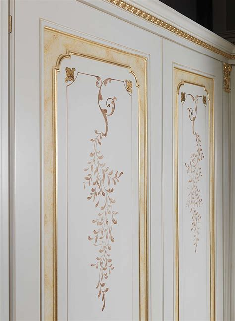 Decorated Wardrobes - classic modular wardrobe decorated and golden vimercati