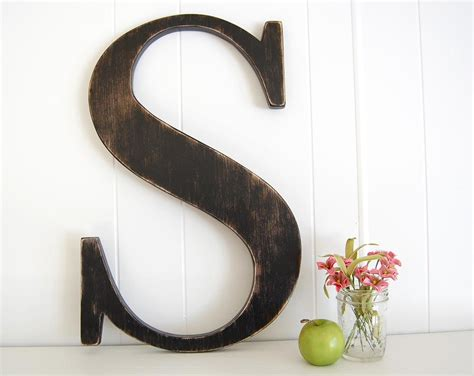 12 Wooden Letter S Wall Art Signage Rustic Americana Wood Letter Wall Decor