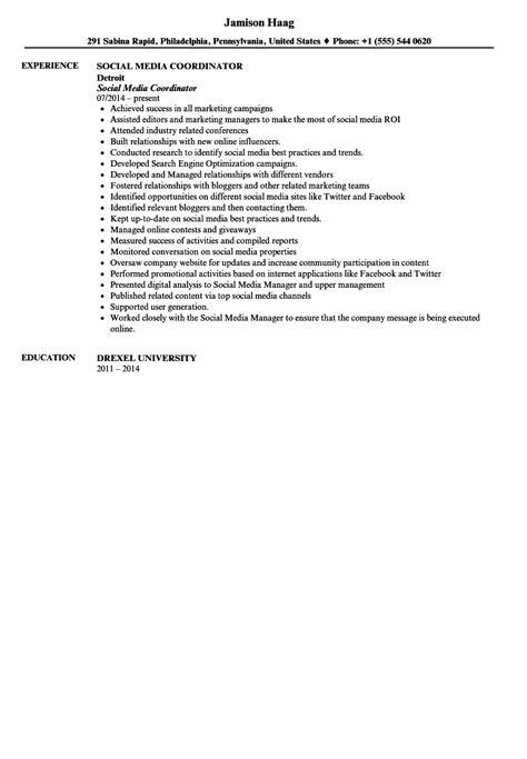 Social Media Coordinator Resume by Social Media Coordinator Resume Sle Velvet