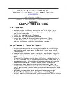 Resume For Custodian by School Custodian Resume Free Resume Templates