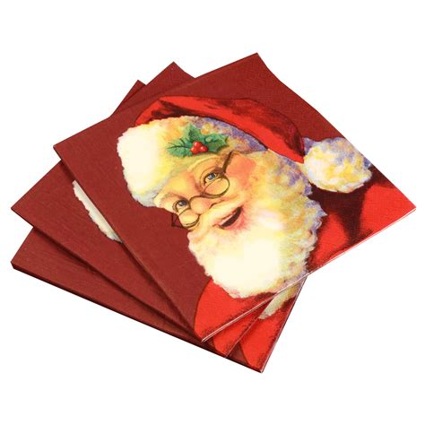 pack of 20 christmas paper napkins santa
