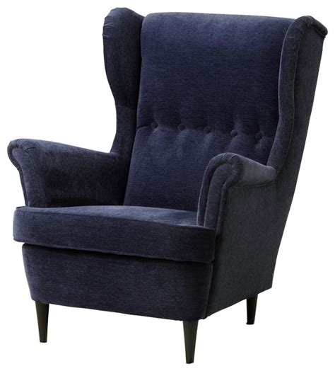 In A Blue Armchair strandmon wing chair vellinge blue