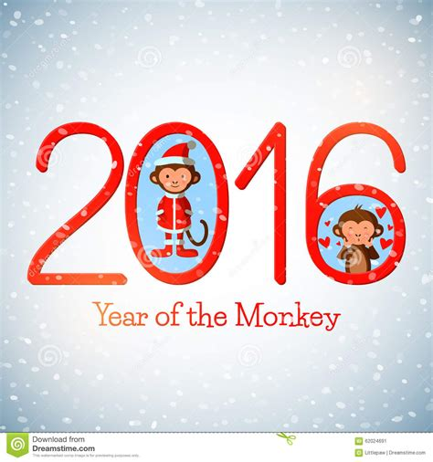 new year 2016 year of the happy new year 2016 greeting card with monkeys