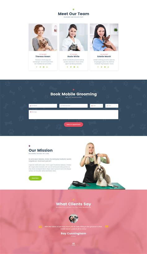 Petsalon Website Template For Dog Grooming And Pet Care Modern Web Templates Pet Care Website Templates