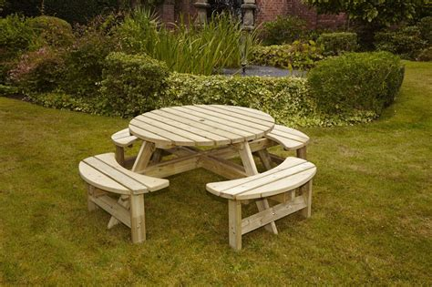 round wooden bench hgg wooden round picnic bench outdoor patio solid wood