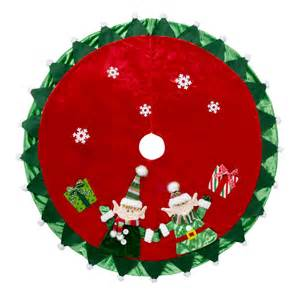 happy elves crushed velvet christmas tree skirt
