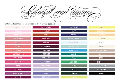 wedding color swatches bridals bridesmaids swatches