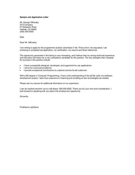 Application Form Letter Application Letter Form Free