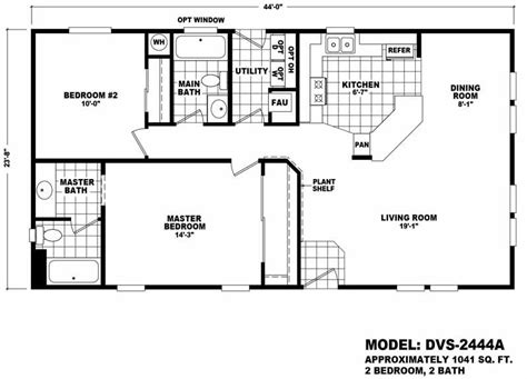 cavco floor plans value 2444a 3 bed 2 bath 1041 sqft affordable home for 55900 model dvs2444a from homes direct