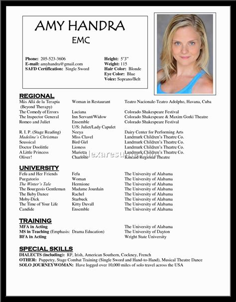 Headshot Resume No Experience by Child Actor Resume New Photoshot Sles Template Acting