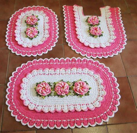 croche oval bico duplo tapete com flores jogo de banheiro croche oval jogo de banheiro branco rosa bebe croches da elsa elo7