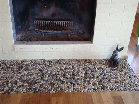 glazed bali turtle pebble tile fireplace hearth hearths
