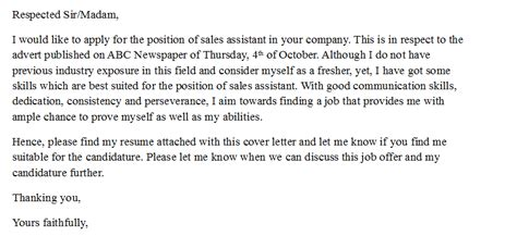 No Letter Post Sle Cover Letter For Sales Assistant With No Experience