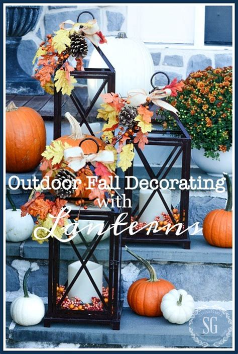 easy fall decorating updates and a giveaway finding outdoor fall decorating with lanterns and a giveaway