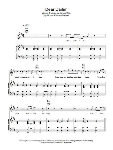 piano tutorial up olly murs dear darlin sheet music direct
