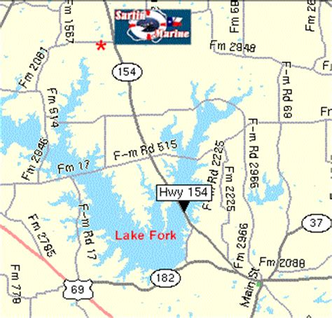 map of lake fork texas contact information for sartin marine includes location map