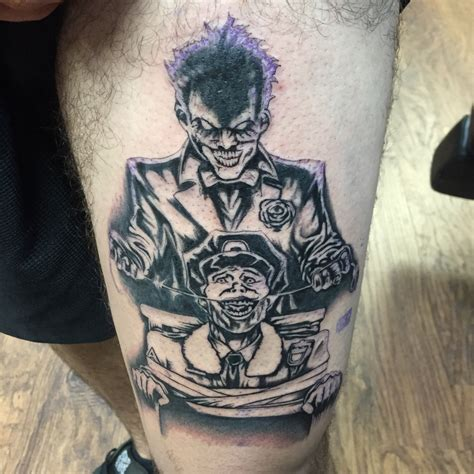 black and grey joker tattoo supervillain joker tattoo by capone tattoonow