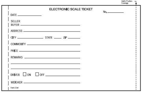 Printable Scale Tickets | weight scale ticket template