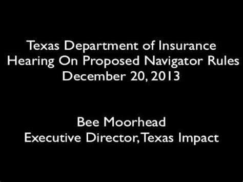 texas dept  insurance navigators public hearing bee