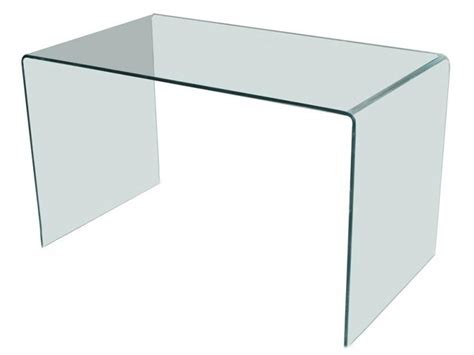 bureau table en verre bureau design en verre courb 233 transparent d un seul