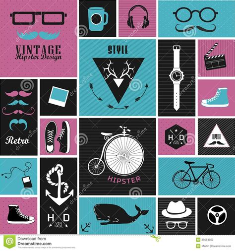 how to make a retro icon style using the appearance panel hipster style elements icons and labels stock vector