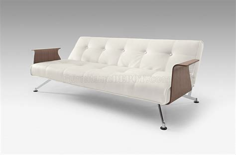 sofa bed legs white full leatherette modern convertible sofa bed w