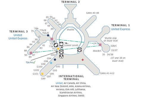 san francisco airport map terminal sfo airport map united airlines