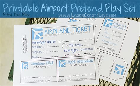 pretend plane ticket template printable pretend play set airport
