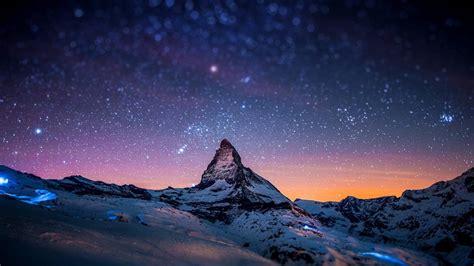 neige montagnes nuit ciel etoiles  hd bureau