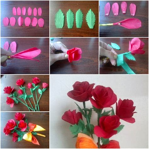 How To Make Paper Flowers Step By Step For - how to make crepe paper roses step by step diy tutorial