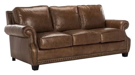 espresso colored leather sofa traditional top grain leather nailhead sofa safavieh