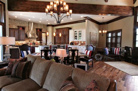 kitchen dining room and living room all open lodge inspired residence open concept kitchen dining living room rustic family room