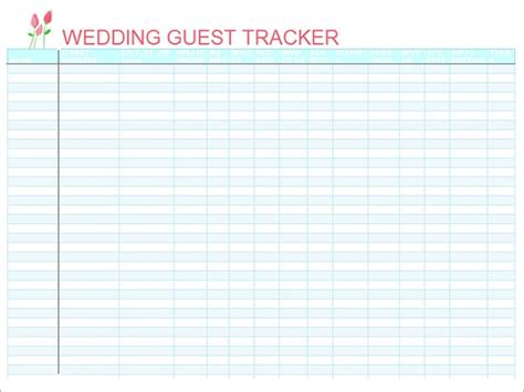 wedding guest list templates   word excel