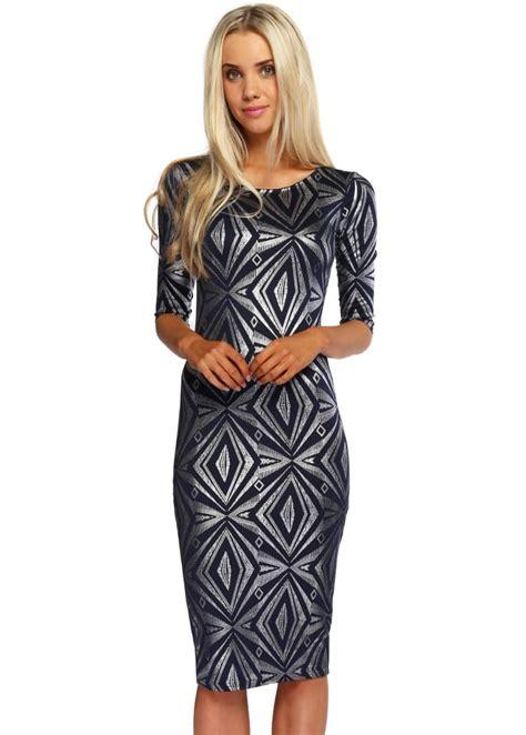 Dress Branded Simply Styled Navy Dress navy blue foil midi dress cheap midi dress