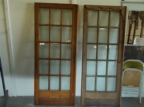 Pair French Doors With 15 Glass Panes Vintage Oak 15 Glass Glass Panel Doors
