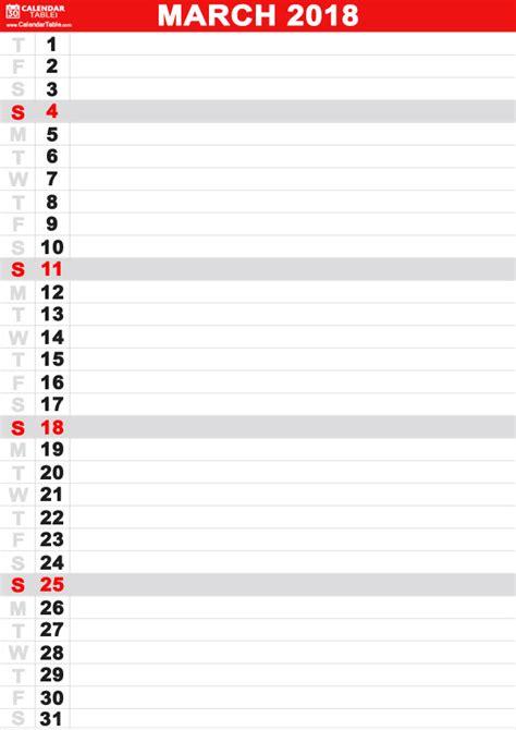 printable calendar vertical 2018 printable march 2018 calendar calendar table calendar table