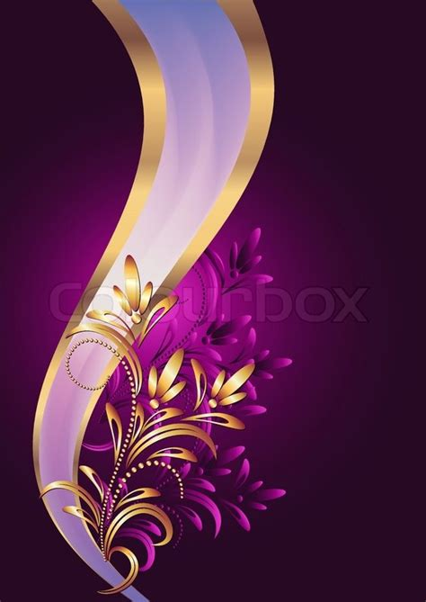 Background with golden ornament and elegant ribbon   Stock